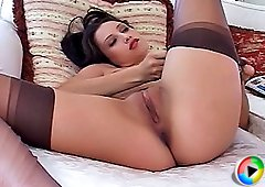 Gorgeous Celeste shows us what shes got in black sheer nylon stockings